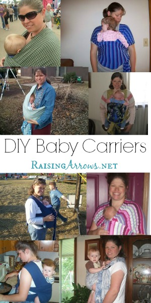 Make Your Own Baby Carriers - tons of ideas and links & easy patterns (little to no sewing experience needed!) | RaisingArrows.net