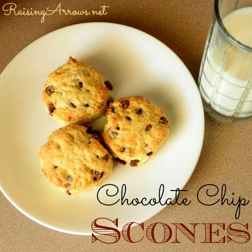 Chocolate Chip Scones - yummy treat for breakfast, snack, church social or just because! | RaisingArrows.net