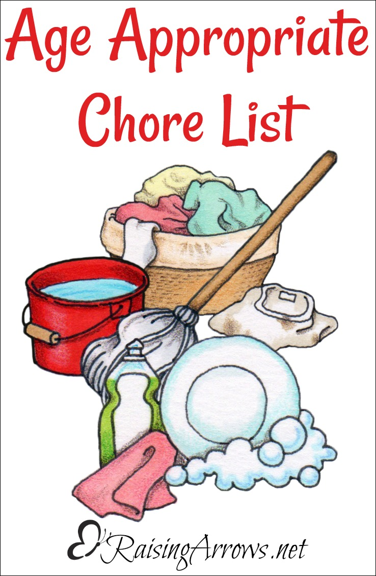 What kind of chores can kids do at different ages? This list gives you a guideline for dolling out chores to your children.
