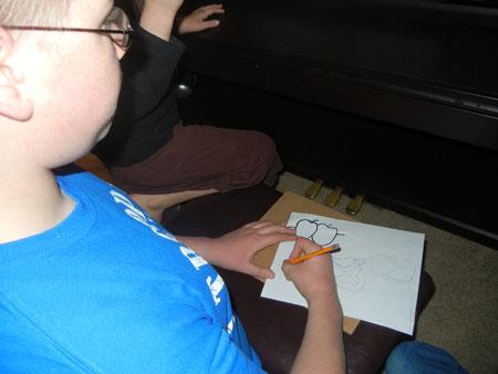 Blake drawing apples