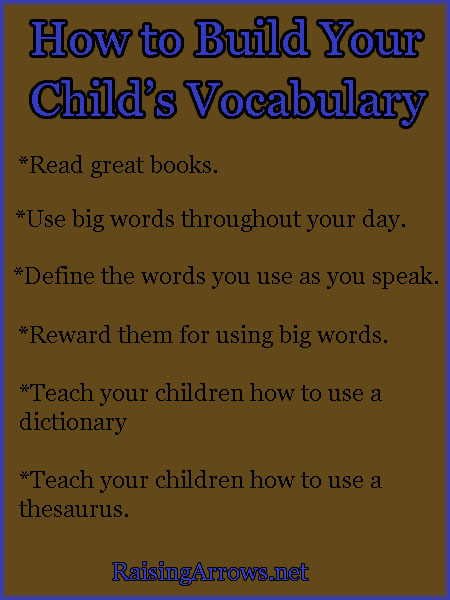 Build Your Child's Vocabulary | RaisingArrows.net
