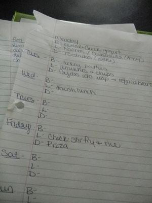 menu plan on paper