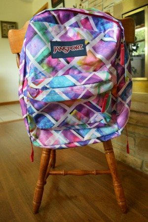 backpack on chair
