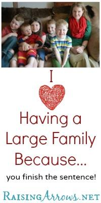 """I Love Having a Large Family Because..."" {you finish the sentence!} | RaisingArrows.net"