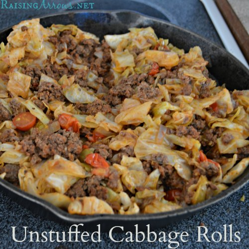 "Unstuffed Cabbage Rolls Recipe (stove top using a 15"" skillet) 