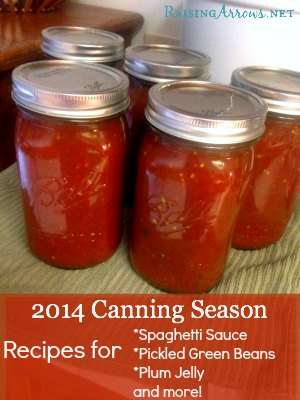 2014 Canning Season - so far, we've made salsa, spaghetti sauce, pickles and pickled green beans, freezer green beans, and sandhill plum jelly!  Recipes included in the post! | RaisingArrows.net