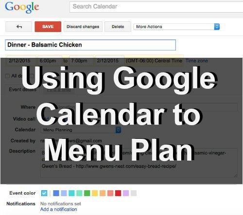 Using Google Calendar for My Menu Planning