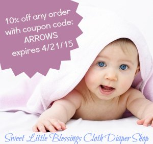 Coupon Code: ARROWS - 10% off any Sweet Little Blessings cloth diaper order