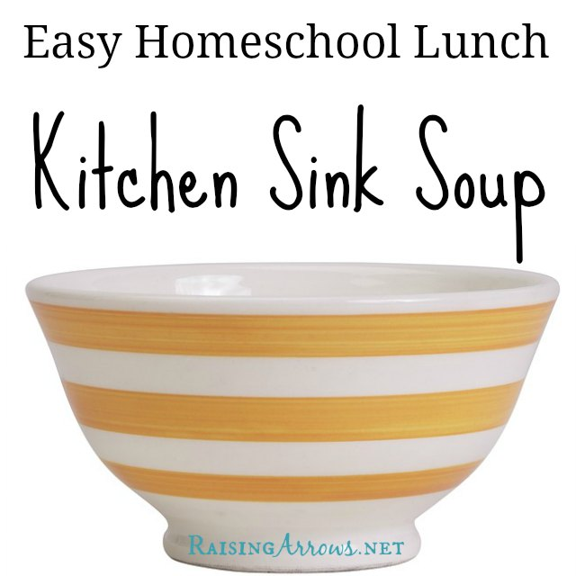 Kitchen Sink Soup - because it includes everything BUT the kitchen sink! This is a grab and go lunch - video included!  (and yes, I should have named it something else, but this is what we call it - weird as it is!) | RaisingArrows.net
