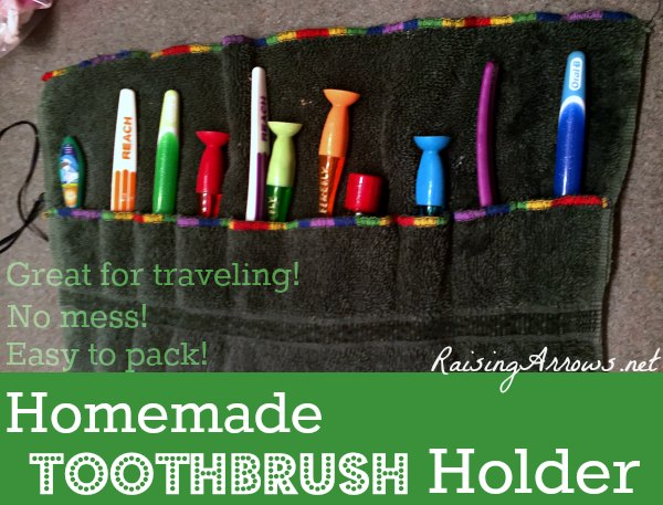 Homemade Toothbrush Holder - great large family hack for traveling families! | RaisingArrows.net