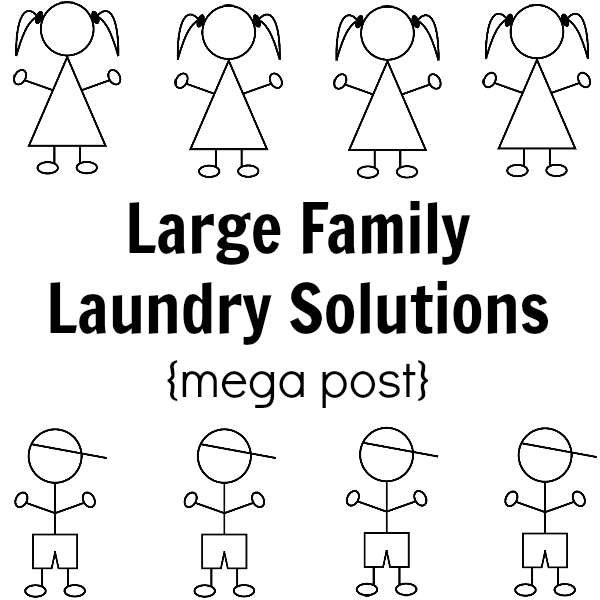 In a large family, laundry is mega-sized. In this mega post on large family laundry solutions you'll find systems that work!