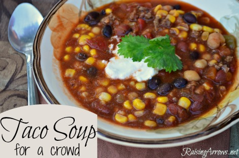 This delicious taco soup makes plenty for a large family gathering or to share with friends! | RaisingArrows.net