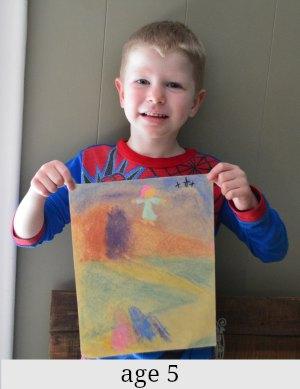 5 year old chalk art