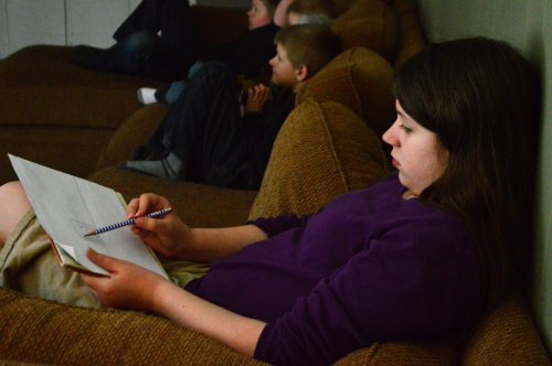 Lia sketching scenes from The Crossmaker DVD