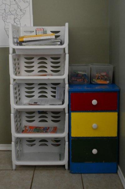 Homeschool Organization that Works! Cubbies for each child's school work | RaisingArrows.net