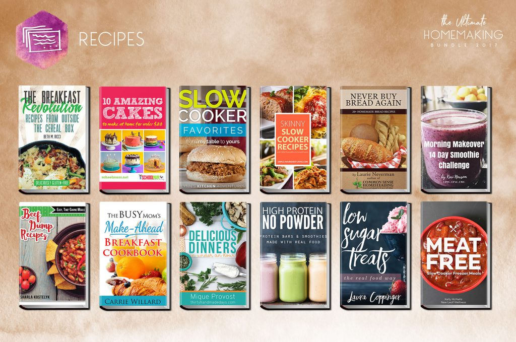 Recipe section of the Ultimate Homemaking Bundle