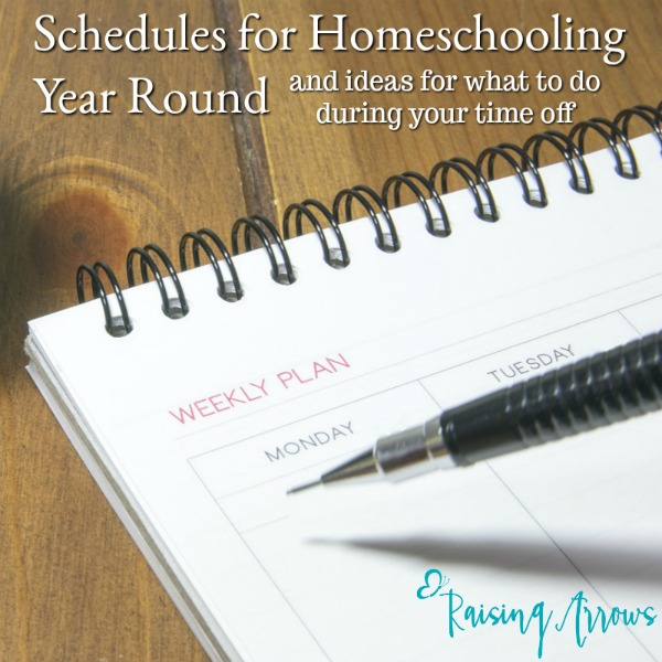"Are you interested in homeschooling year round, but don't really know what that would look like? This post goes through different schedules as well as what to do in your ""off"" time."