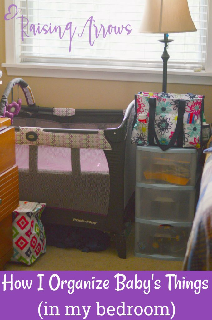 When baby sleeps in your room, you can end up with a lot of piles of baby things all over the room! Here's I keep baby's things organized!