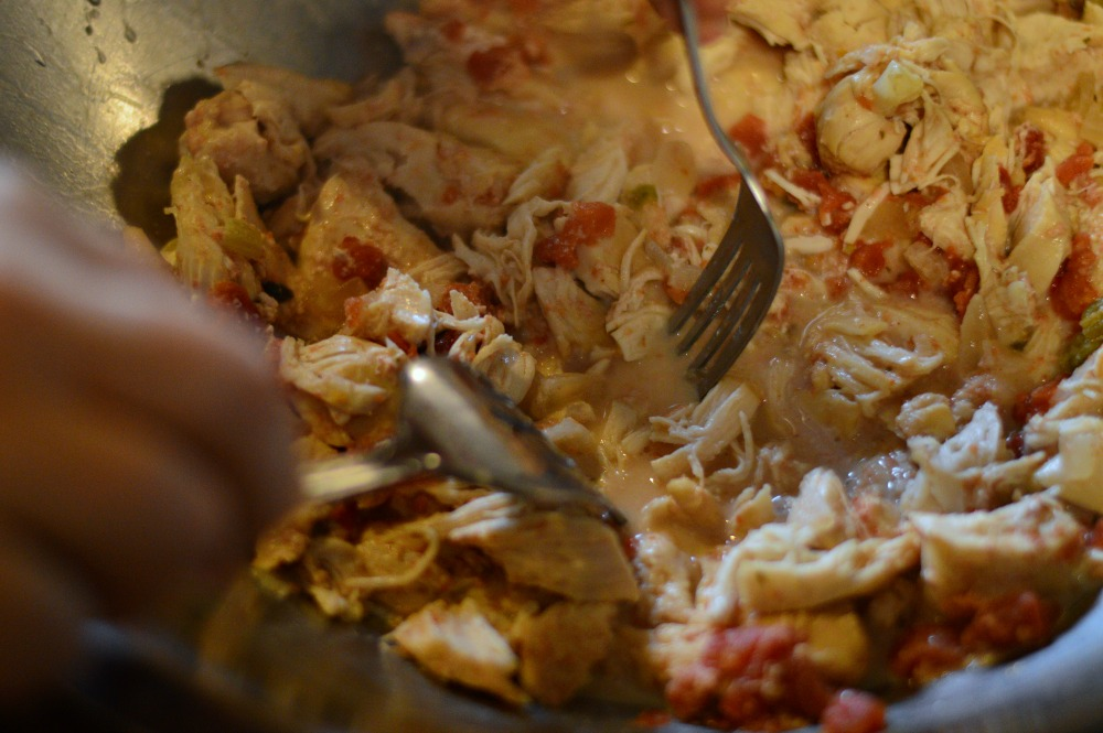 Shredding the chicken for the Chicken Fajita Soup from Trim Healthy Table