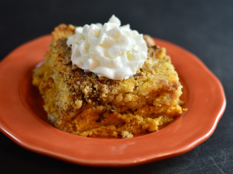 Homemade Yellow Cake Mix! Shown here on a pumpkin crumble cake! Super easy and super yummy!