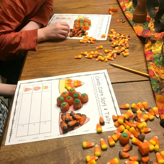 Candy Corn Math Worksheets from this week's Large Family Homeschooling Week in Review