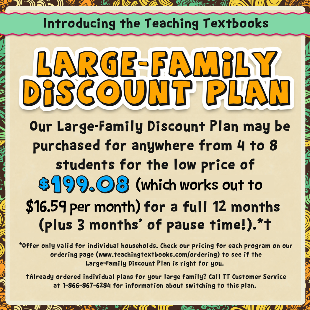 Teaching Textbooks 3.0 Large Family Discount Plan