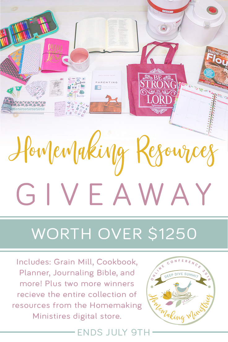 Win REAL products in this homemaking giveaway to kick off the 2018 Deep Dive Summit Homemaking Conference - NutriMill, Planners, Bible Journaling, and more!