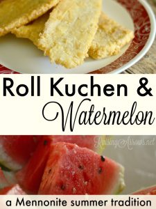Savor a taste of my childhood with these salty fritters, called Roll Kuchen. eaten with watermelon slices on hot summer day!