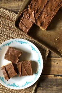 Scotcheroos – Peanut Butter Rice Krispies with Chocolate!