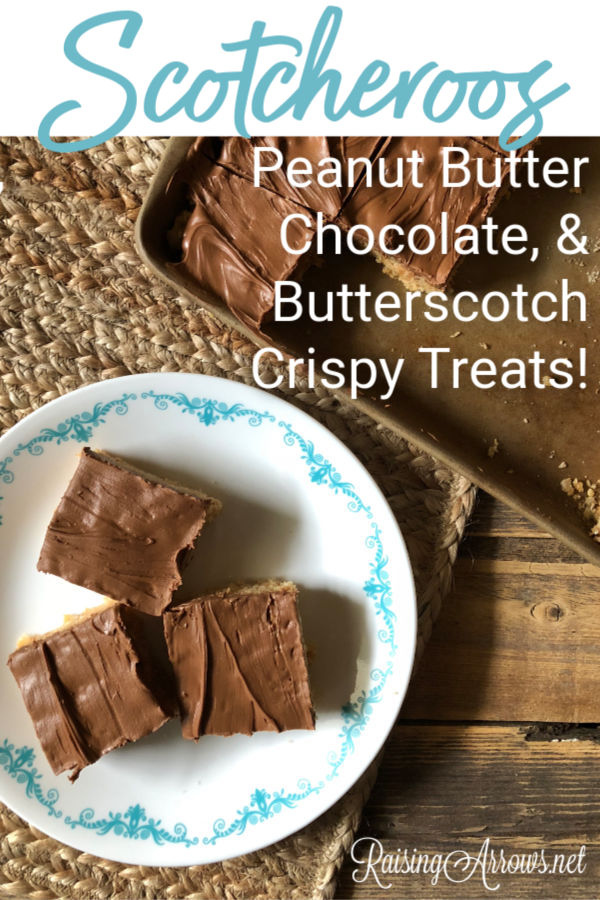 Peanut butter Rice Krispies treats covered in chocolate and butterscotch chips make these dessert bars a perfect Fall treat!