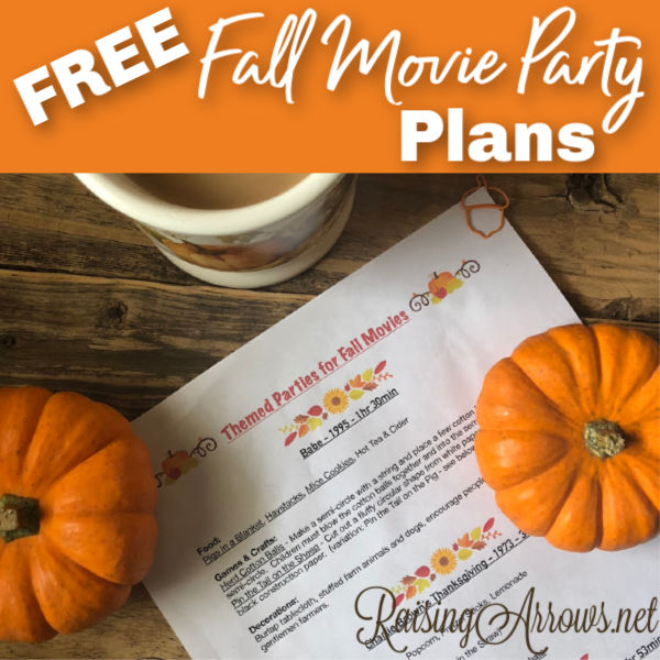 FREE Fall Movie Party Guide!  3 Fall flavored movies with food, crafts, decorations, and games!  Start making fun fall memories with your family tonight!