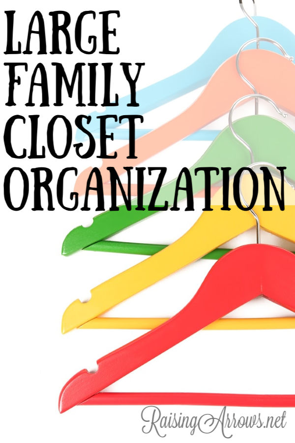 Large families have to be creative with how they organize their closets because storage solutions in the average home are not big enough.  Here's how we have our closets organized with a family of 10.