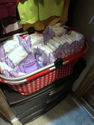 Diapers can go in the closets as well.