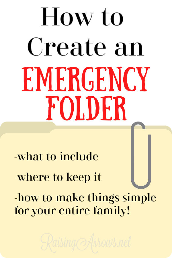 Creating a file of information your family needs in an emergency is a beneficial way to lower the stress in a crisis.